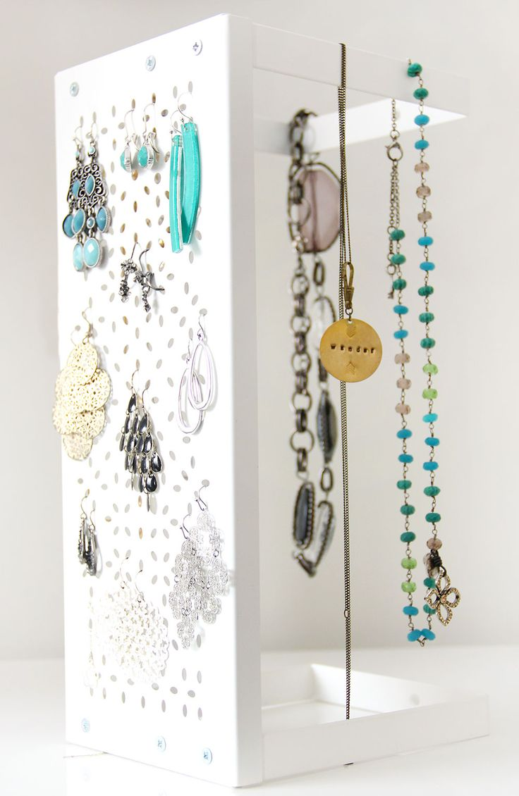 DIY, Jewelry storage with an Ikea, Variera Shelf. Easy and cheap storage and