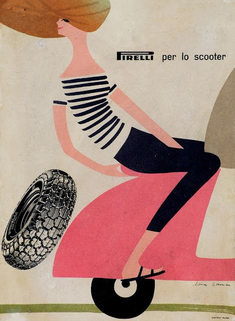 Vintage Italian Posters ~ #illustrator #Italian #posters ~Pirelli Tire Advertisement
