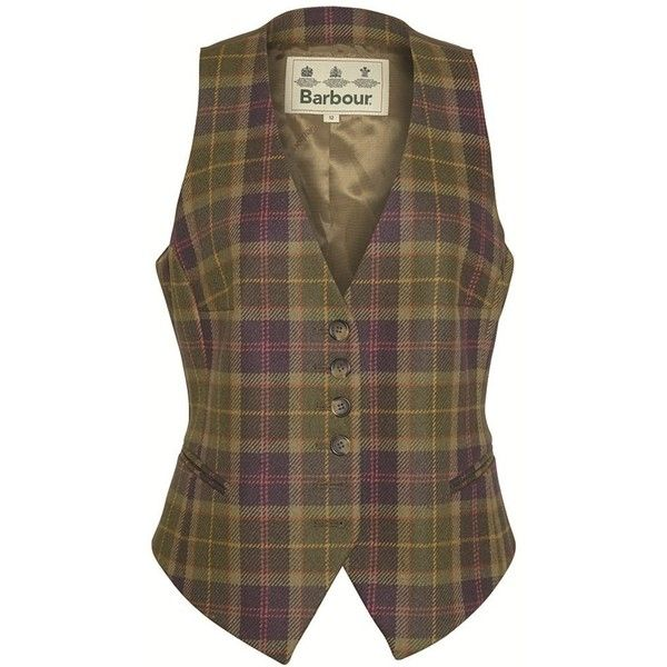 Women's Barbour Coverdale Waistcoat - Sporting Tartan ($155) ❤ liked on Polyvore featuring outerwear, vests, tweed waistcoat, brown vest, plaid vest, brown waistcoat and barbour