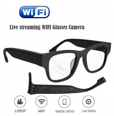 Live Streaming Glasses Camera 30M WIFI Spy Glasses with Digital Video Recorder FHD 1080P