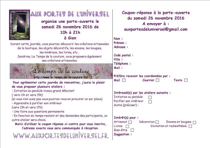 Aux Portes de l'Universel, boutique ésotérique à Gien vous propose de participer à sa Porte-ouverte http://www.auxportesdeluniversel.fr/