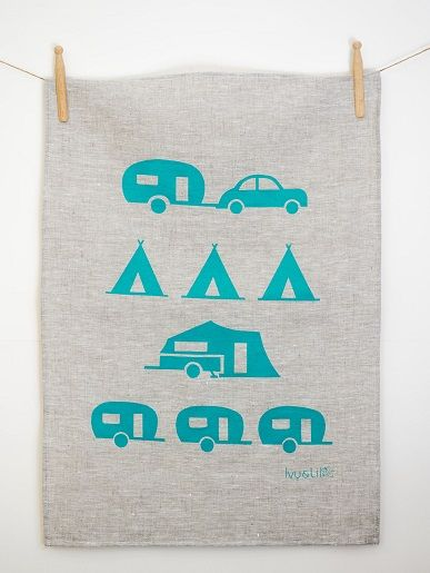Who's a happy camper? Tea towel by Ivy & Lil
