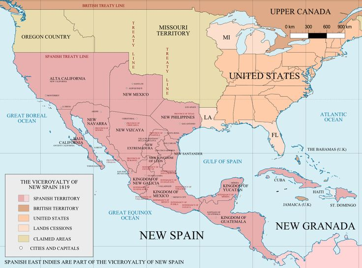 Mapa del virreinato de la Nueva España (versión 1). | Muestra la división territorial por reinos y provincias; y menciona algo de las intendencias.
