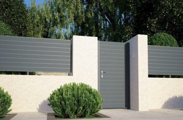 sichtschutzzaun design elegant grau weiß