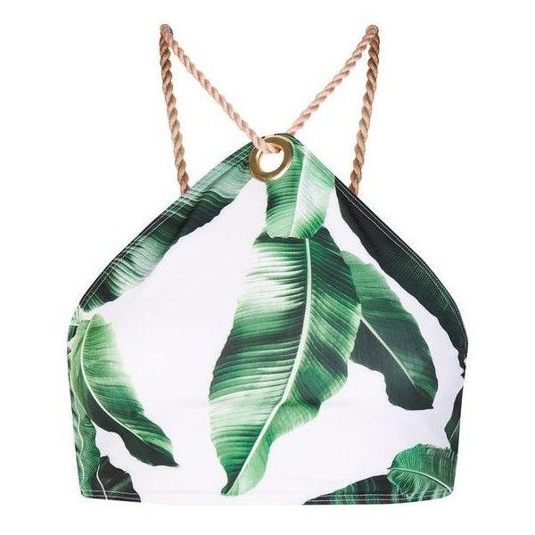 Palm Leaf Print Eyelet Bikini Top by Jaded London (€34) ❤ liked on Polyvore featuring swimwear, bikinis, bikini tops, tops, swimsuit, halter bathing suit, halter crop tops, halter swim top, tankini swimsuit tops and swim crop top