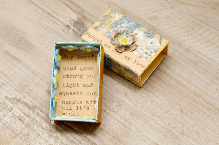 Altered vintage matchbox with a sweet sentiment inside