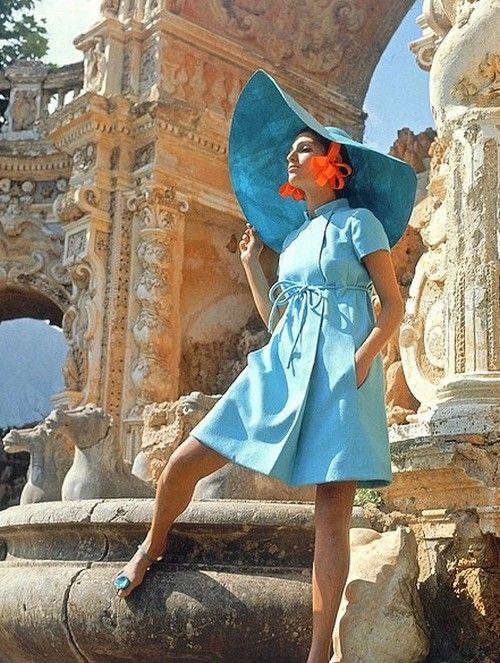 Vogue 1967. Blue, blue, blue. Hat, hat, hat.