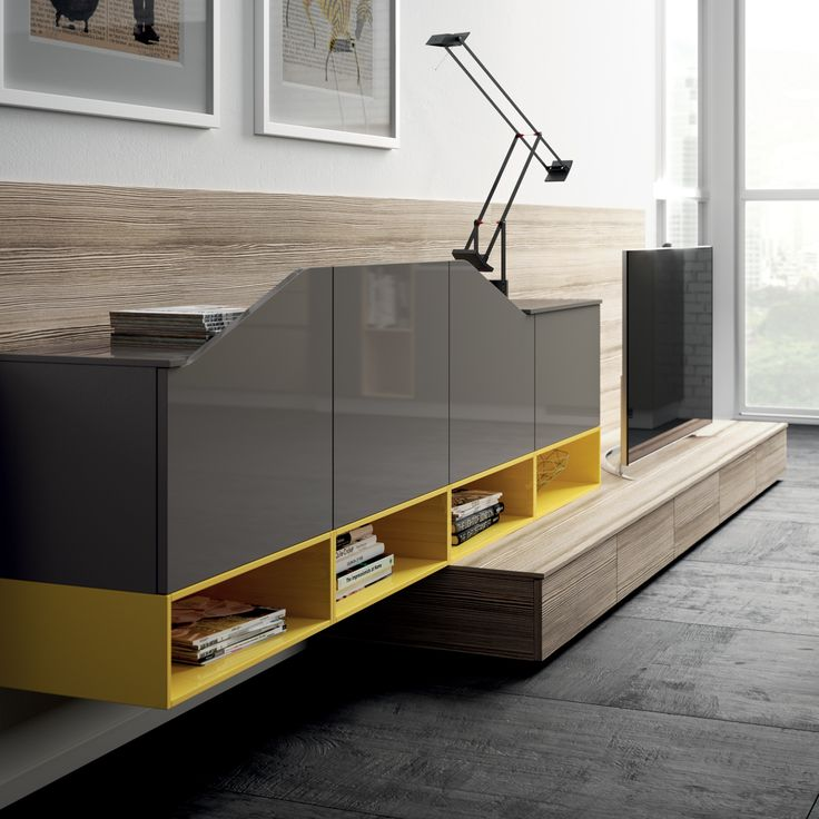 Sun Yellow and Titanium Grey gloss lacquered, Zolfino Larch decorative melamine: the colour scheme is emphasised by doors featuring an exclusive shaped profile.