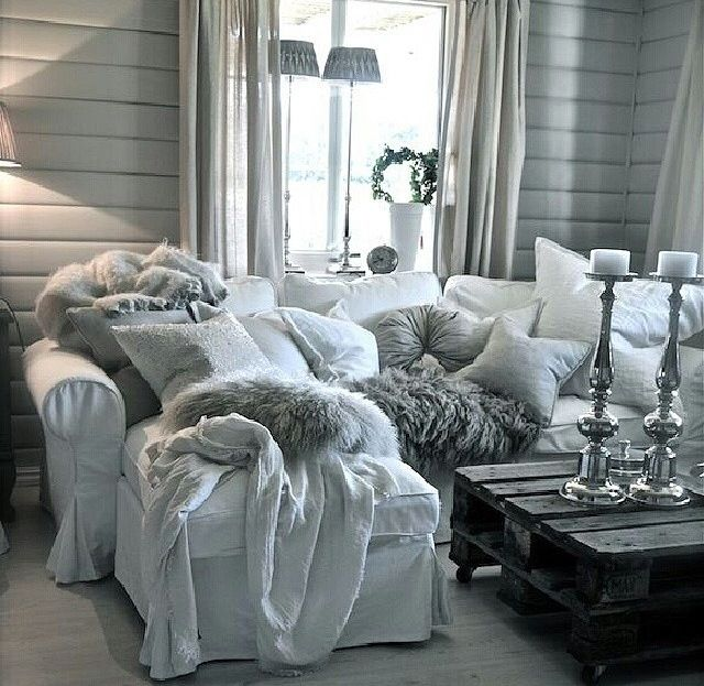 Luxe grey and white decor
