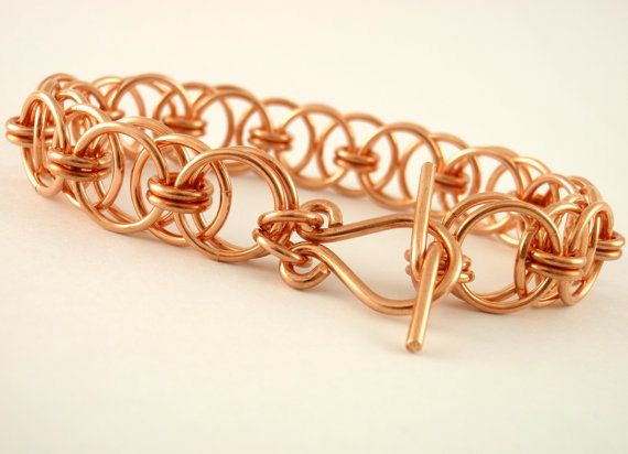 Parallel Chain or Helm Weave Chainmaille Bracelet Kit - Solid 18 gauge Copper
