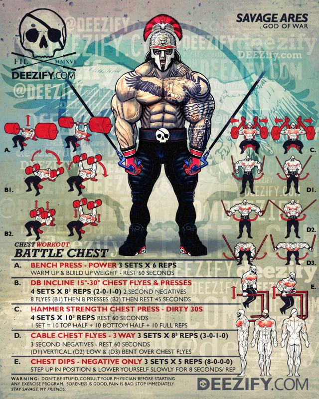chest workout: bench, chest flyes, dips - Ares
