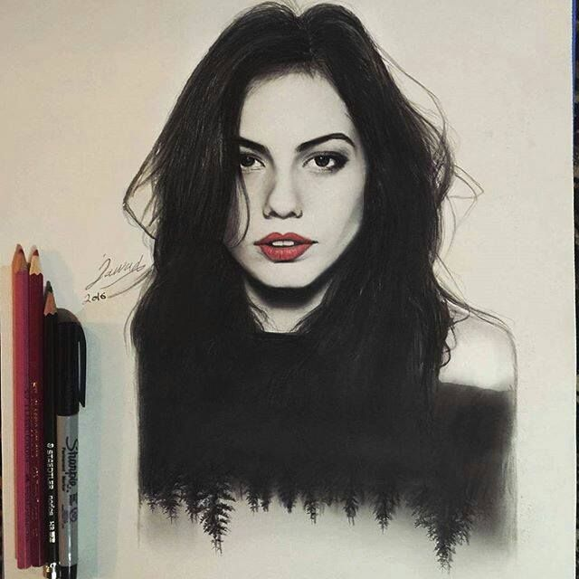 Beautiful portrait of Demet Özdemir by jawadalghezi_art.