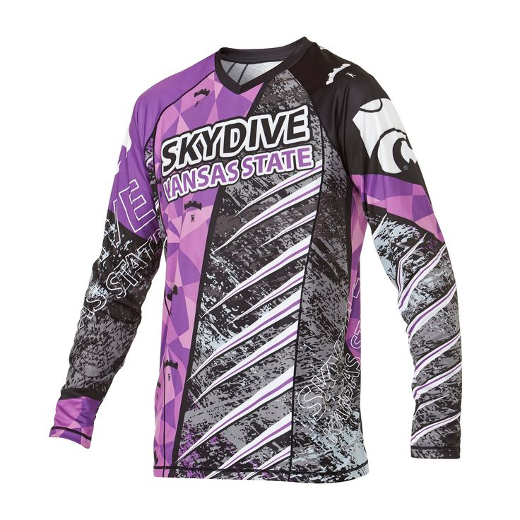Infinite Skydiving Jersey in Royal colorway — at Manufactory Apparel.  — Products shown: Infinite Skydiving Jersey for Skydive Kansas State #customskydivingjerseys #getintoskydiving #skydive #jerseys