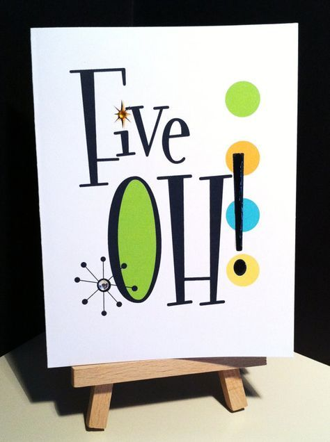 Handmade Five OH 50th birthday card by studioCshop on Etsy, $4.00