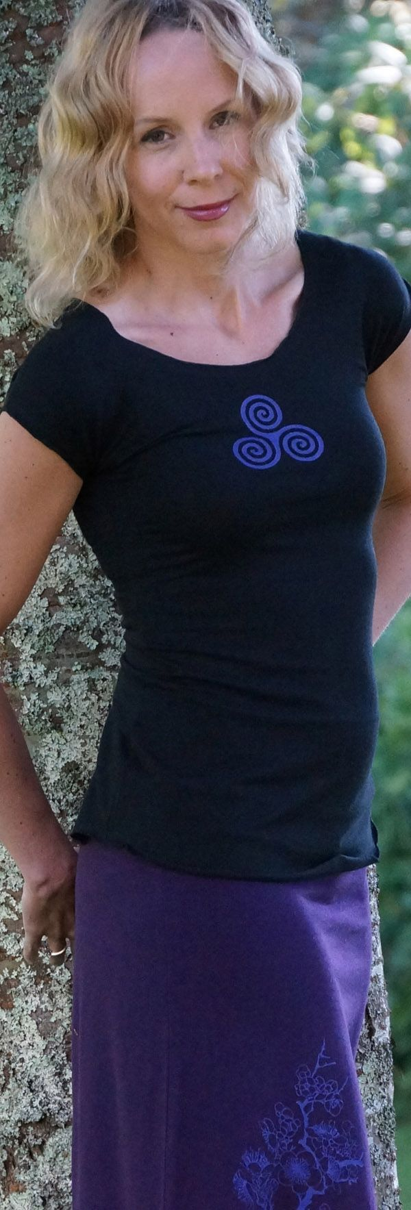 Feeling Beautiful in Bamboo !  Black Bamboo Cap Sleeve Tee printed with the Triple Goddess worn with the Plum Bamboo Skirt  with Sakura Blossom Print from Squeezed Yoga Clothing http://squeezed.ca/shop/plum-bamboo-skirt-with-violet-cherry-blossom