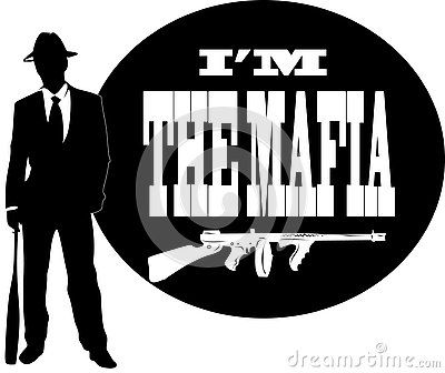 Vector drawing of a mobster, with guns and inscription.