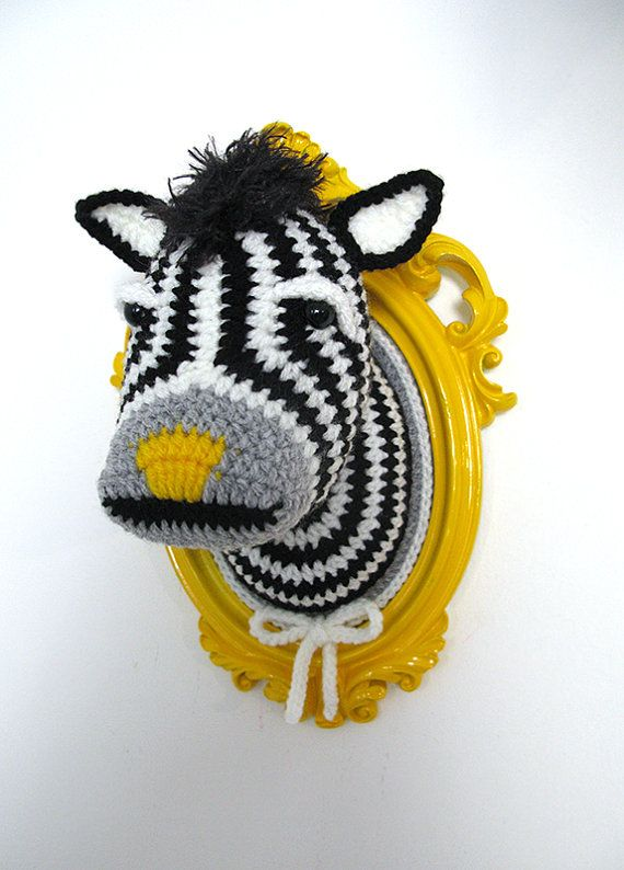 Crochet zebra head in a bright yellow frame. by ManafkaMina, $125.00