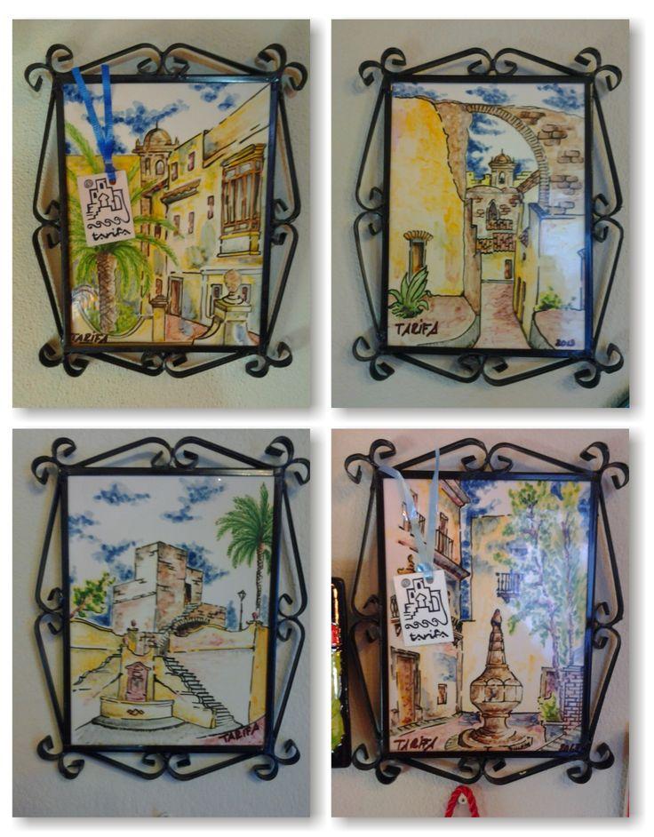 Diferentes vistas de Tarifa pintadas sobre cubierta en azulejos de 15x20cm.
