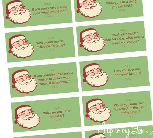 Printable Conversation Starter Questions {Christmas} - Skip To My Lou