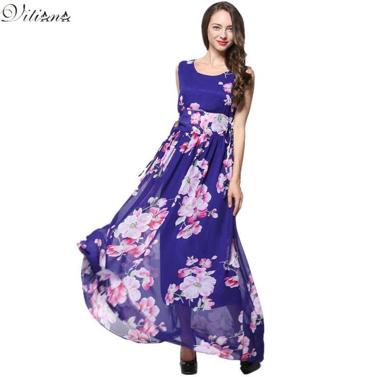 2017 Womens Summer Elegant Beach Chiffon Clothing Bohemian Print Maxi Long Party Dress Plus Size 5XL 6XL Vestidos 3084