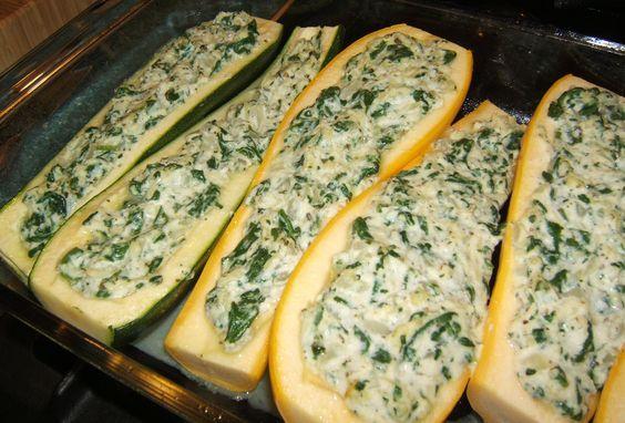 Spinach and Ricotta Stuffed Squash