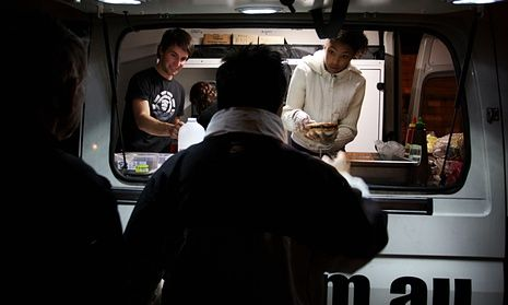 Homeless people line up at a food van and outreach service at Green Park, Darlinghurst One in three using homeless services are fleeing domestic violence, study reveals | Society | The Guardian