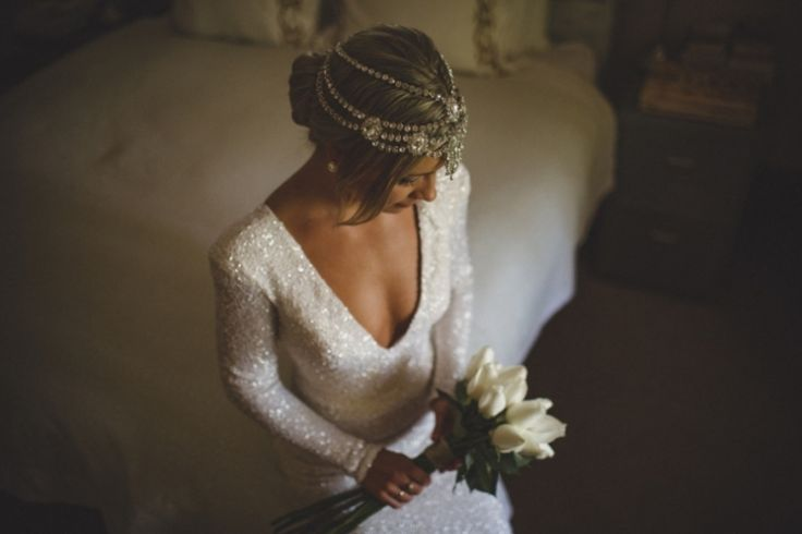 Jewelled Headpiece by Bo & Luca / Dallas & Chelsea's Springtime Splendour Wedding / Photography by James Frost / View on The LANE