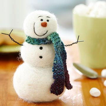 Felted Frosty the Snowman Craft - Having this warm and woolly snowman as a holiday decoration will help make you a jolly, happy soul! To make it, needle-felt tufts of wool roving into balls, then needle-felt the balls together to form the snowman's body. There's no magic needed to give the guy some character -- just add tiny bits of wool for facial features and the coal like buttons.