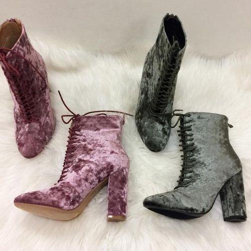 booties, heels, and velvet image