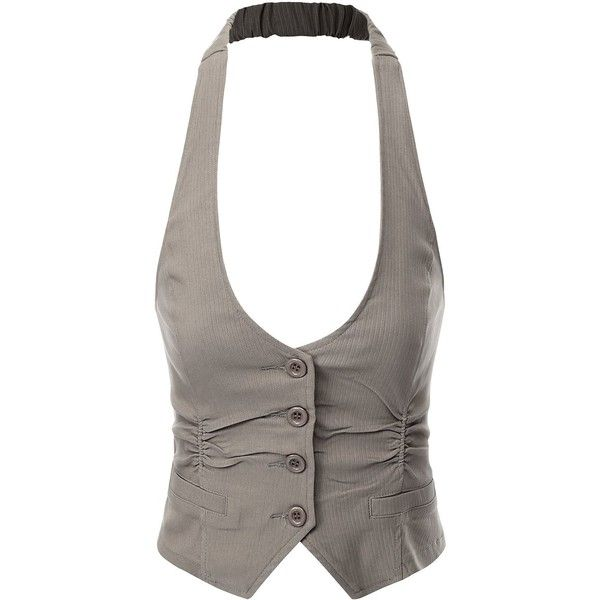 Doublju Women Wear to Work Button Detailed Stretchy Fabric Vest ($20) ❤ liked on Polyvore featuring outerwear, vests, vest, tops, jackets, shirts, vest waistcoat and button vest