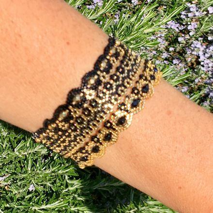 Trio de Bracelets anneau déclinaisons de noir et dores - collection so chic  : Bracelet par ketiko