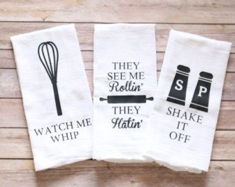 Funny Song Lyric Tea Towels, Flour Sack Towels - Just Beat It, They See Me…