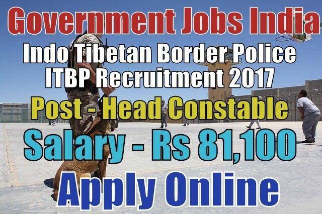 Indo Tibetan Border Police ITBP Recruitment 2017 Apply Here