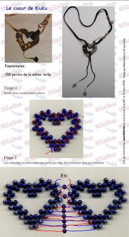 Le coeur de KiuKu free beaded heart instructions #rightangleweave #3D