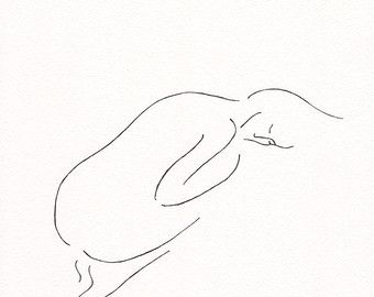 Minimalist drawing. Nude figure illustration. 8.3 x by siret