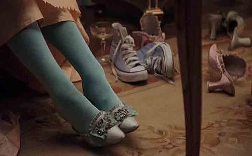 In one scene while Marie Antoinette is getting ready, a pair of blue Converse tennis shoes are visible in the scene. Sofia Coppola has stated in interviews that the shoes were purposely put in the shot to portray Marie-Antoinette as a typical teenage girl, despite the time she lived in.