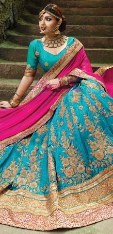 Indian Half Saree Set Online Blue Dupion Silk Semi Stitched ND1104D10147
