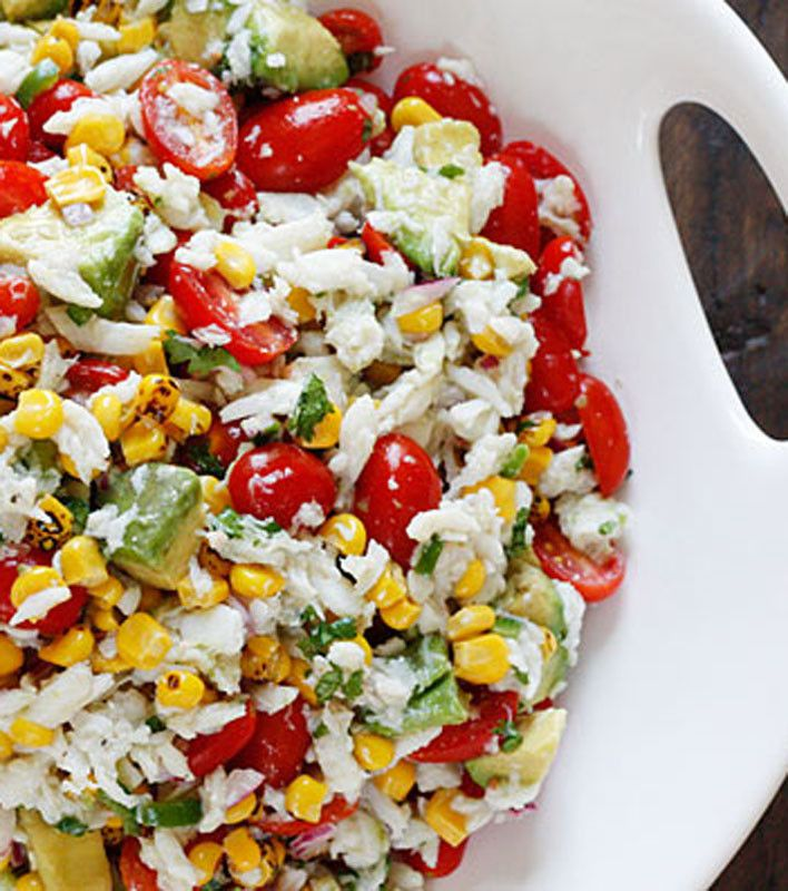 Summer Tomatoes, Corn, Crab and Avocado Salad.Avocado Salads, Avacado Salad, Fun Recipe, Salad Recipe, Roasted Corn, Summer Salad, Savory Recipe, Crabs, Summer Tomatoes