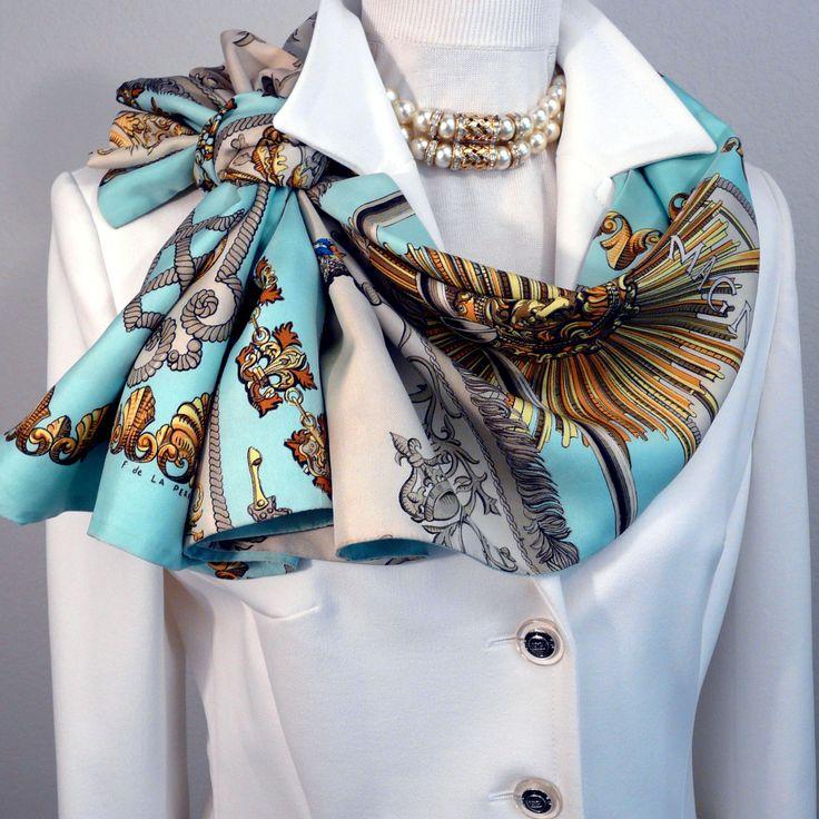 Authentic Vintage Hermes Reversible Silk Opera Scarf Ludovicus Magnus Turquoise Rare