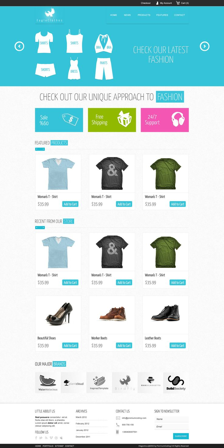 This is the home page template of our latest Premium Ecommerce WordPress Theme called Mercor in PSD format. It has a light blue / white combination with clean grid to display your products.