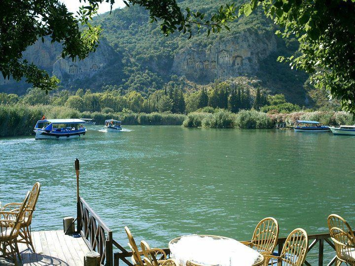 Great views of the rock tombs from the riverside restaurant in Dalyan, Turkey
