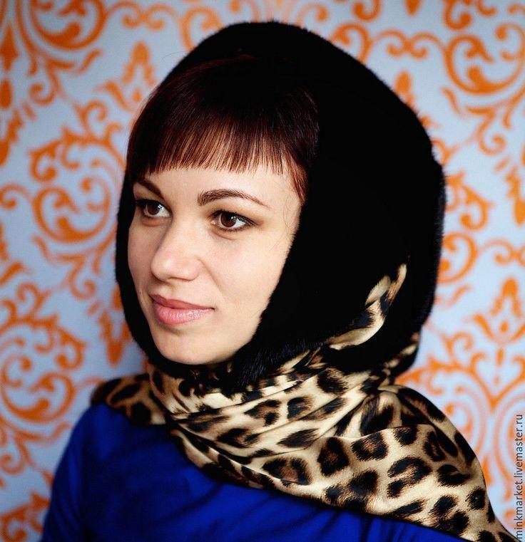 Купить Новинка!Платок из меха норки на шёлке - черный, платок на голову, платок павловопосадский, натуральный мех
