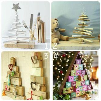 4 idee per piccoli alberi di Natale di legno