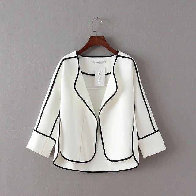 Korean tide spring 2016 Couture cardigan Lapel edge color long sleeve shirt sleeve under slit coat