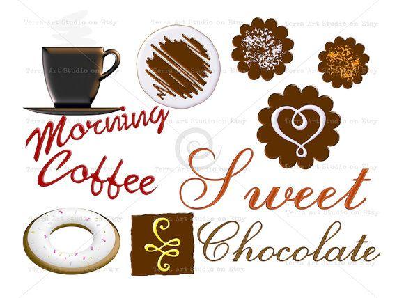 Koffie zoete chocolade clipart set digitale grafische instant
