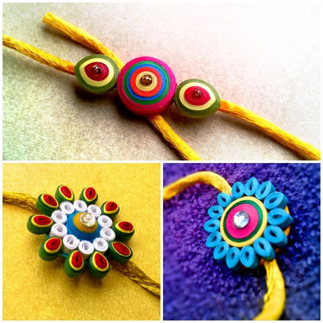 easy quilling rakhi designs - We have 15 best ideas to make Rakhi at home for Rakshabandhan - Perfect rakhi ideas for kids to make, rakhi competition, best of waste, simple and handmade with detailed step by step images- ArtsyCraftsyMom
