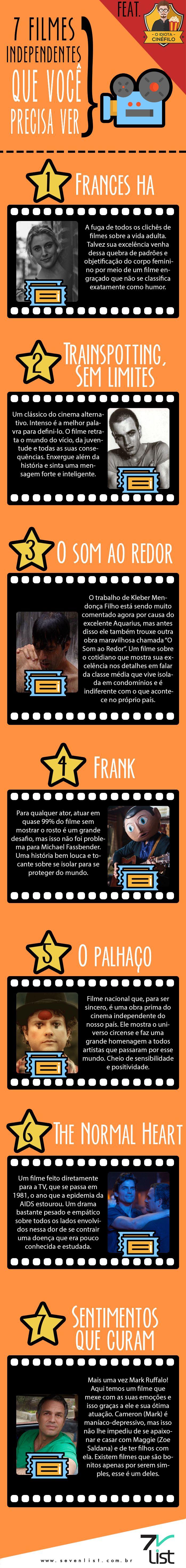 #SevenList #Infográfico #Infographic #List #Lista #Movie #Filme #Cinema #Filmesindependentes #filmesindependentes #netflix #francesha #trainspotting #osomaoredor #frank #opalhaço #thenormalheart #sentimentosquecuram