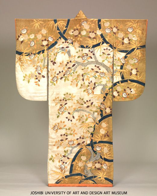 Furisode with tachibana orange trees and bamboos, Edo period, 18th century, Japan