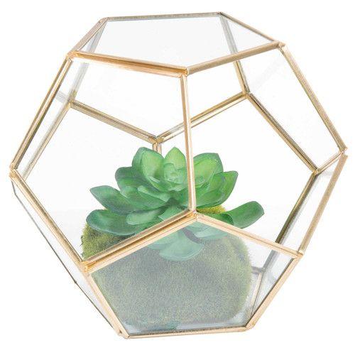 Terrarium en métal et verre H 15 cm JUNGLE