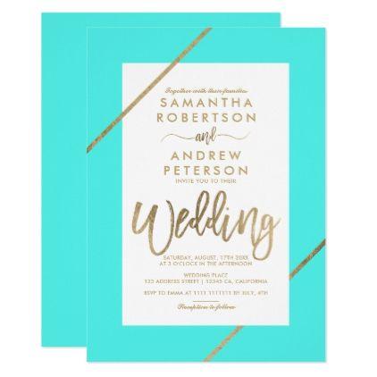 Gold typography aqua stripes beach chic wedding card - wedding invitations cards custom invitation card design marriage party